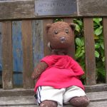 Bearsac on Arthur;s Bench in Albert Square