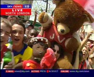 Bearsac and giant on Sky TV Arsenal victory parade 2004 1 of 5 photos