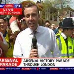 Bearsac and giant on Sky TV Arsenal victory parade 2004 3 of 5 photos