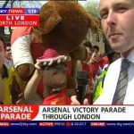 Bearsac and giant on Sky TV Arsenal victory parade 2004 4 of 5 photos