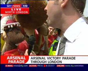 Bearsac and giant on Sky TV Arsenal victory parade 2004 5 of 5 photos