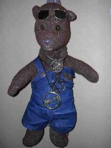 Teddy bear, Bearsac wearing dungarees and bling