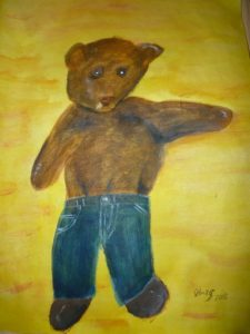 Painting of Bearsac wearing jeans