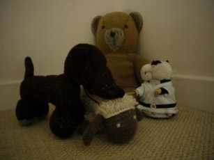Teddy bear and 3 other cuddly toys