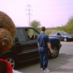 Ray Parlour in big car in background, Bearsac in foreground.
