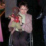Dame Tanni Grey-Thompson holding Bearsac