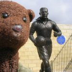 Statue of Dixie Dean. Bearsac in foreground