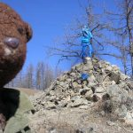 Ovoo. pile of rocks with blue silk for sky