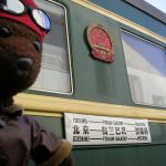 Bearsac beside the Trans-Mongolian train