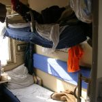 Bearsac on top bunk of Trans-Mongolian train couchette