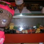 Bearsac beside fish topped sushi on cold bar.
