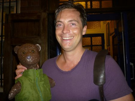 Stephen Campbell Moore holding Bearsac