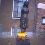 Photo of Bersac sitting on at the Anne Frank Monument