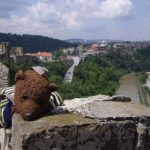 Bearsac lying front down on Veliko Tarnavo Fortress wall