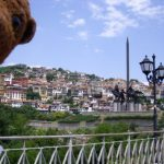 Bearsac in foreground of Veliko Tarnovo houses