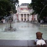 Bearsac on wall of fountain in front of Sofia Ivan Vazov National Theatre