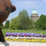 Bearsac in New Garden with palace done on background.
