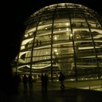 Bearsac bearly visible in the shadow beside Reichstag Dome