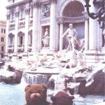 Bearsac and Rizla sitting by the Trevie Fountain