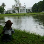 Bearsac by the pond in foreground of Bogor Palace