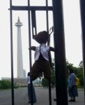 Bearsac hanging by his straps on a fence poiting at the Jakarta National Monument