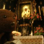 Bearsac in foreground of The Black Madonna painting
