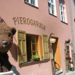 Bearsac outside Pierogarnia restaurant