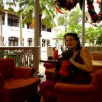 Debra and Bearsac with a Singapore Sling at Raffles Hotel