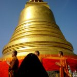 Temple dome and monks, with Bearac's muzzle echoing the shape of the dome