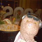 Bearsac in foreground of an ice sculpture of 2004 and a giant pudding