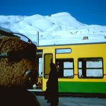Bearsac in foreground of a mountain train