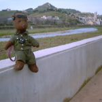 Bearsac sitting on a wall with River Besòs and urban mountain scenery