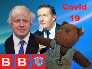 Collage image of Bearsac, Boris and Piers with Bearsac BItes logo and text saying Covid 19